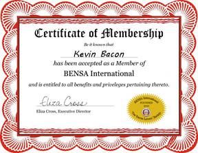 Bensa Membership Certificate