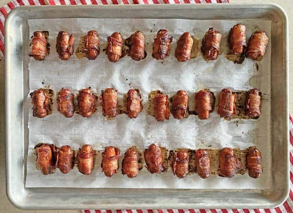 Oven baked bacon wrapped Little Smokies