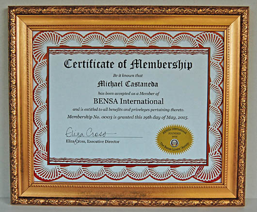 Printable BENSA Official Membership Certificate (frame not included)
