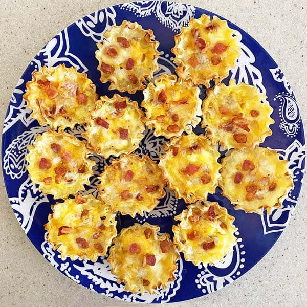bite sized cheddar bacon quiches