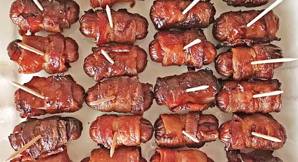 Bacon Wrapped Little Smokies on toothpicks