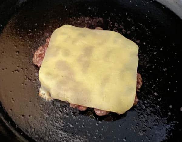 Irish cheddar on a bacon cheeseburger