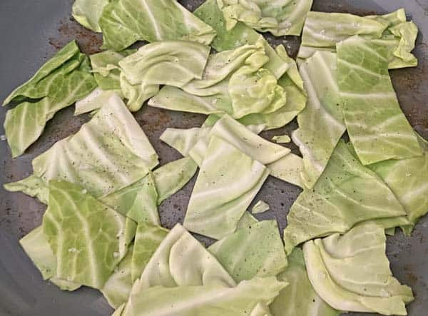 Cooking cabbage for Irish bacon cheeseburgers