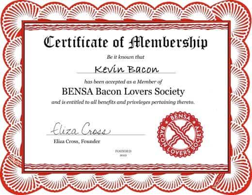 Certificate of membership for BENSA