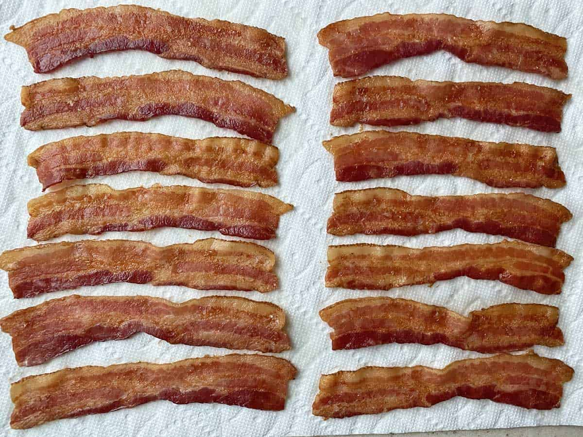 14 slices of cooked bacon spread on paper towels to drain and cool.