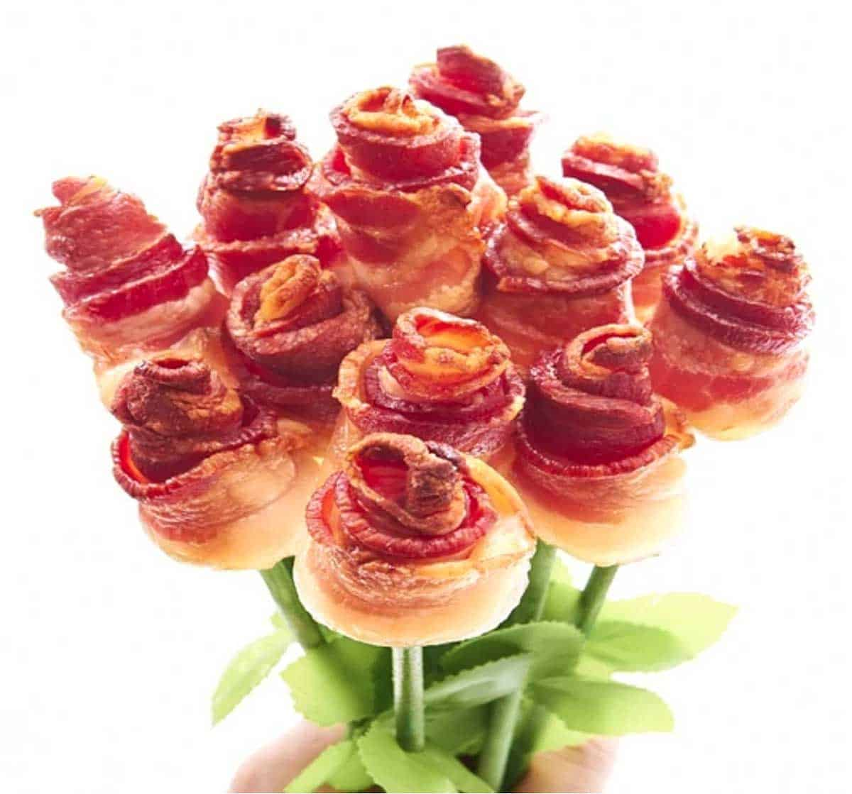 A bouquet with 12 roses, each made from a strip of bacon wound in a rose shape.